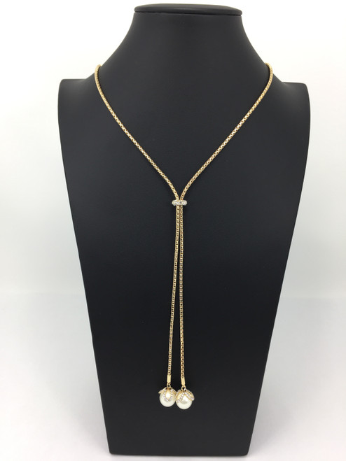 Charter Club Women Crystal & Imitation Pearl Lariat Necklace