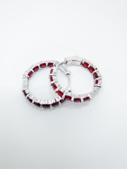 Fuzion Creations Women Oval Garnet Inside Out Hoop Earrings