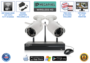 Complete 2 Camera Wireless System with 4 Channel NVR / 2WIRELESS