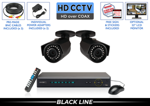 PRO Series Complete 2 HD over Coax Camera System with 4 Channel DVR / 2PROCVIBK4-B