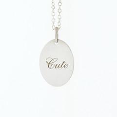 Ladies Sterling Silver 925 CUTE Script Charm Pendant Necklace