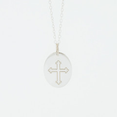 Ladies Sterling Silver 925 Fleur-De-Lis Cross Charm Pendant Necklace