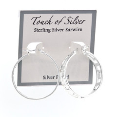 Ladies Silver Plated Greek Key Hinged Post Hoop Earrings 1-1/3""