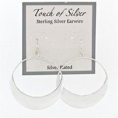 Ladies Silver Plate Circle Drop 1mm Hoop Earrings 1-1/2""