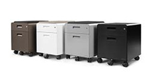 2-Drawer File Cabinet with Seat, Rolling by UPLIFT Desk: Now Available in Metallic (Industrial Style) Finish