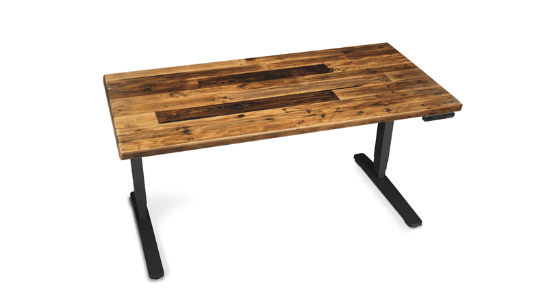 """Handcrafted and naturally sourced, the UPLIFT Reclaimed Wood Stand Up Desk delivers 26"""" of electric height adjustment"""