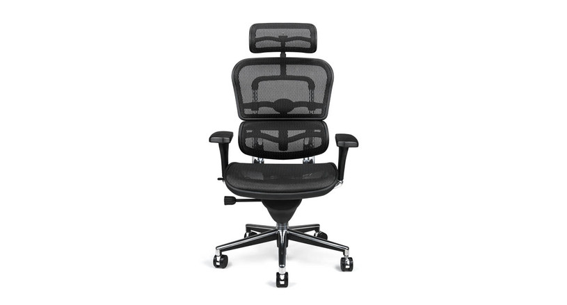 The Ergohuman Chair's cylinder raises and lowers chair pneumatically