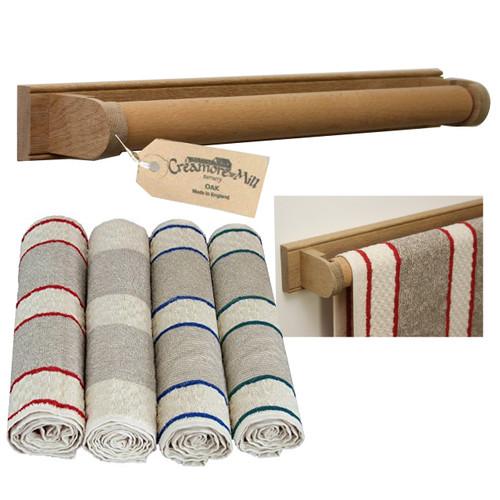 Creamore Mill Oak Roller Towel Rail PLUS Towel