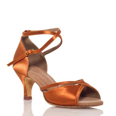 Linked - Nude Cross strap Dance Shoe - 2.5 inch Slim Heels