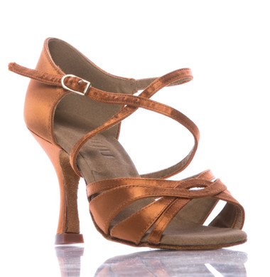 Loraina - Nude Strappy Dance Shoe - 3.5 inch Flared Heels
