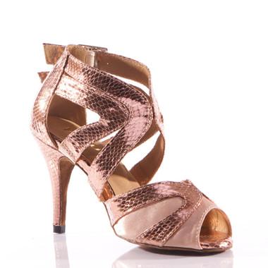 Isabel - Metallic Open Toe Cross Strap Stiletto Dance Shoe - 3.5 inch Heels