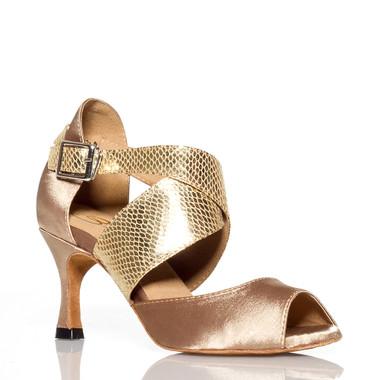 Jorjet - Open Toe Thick Crossing Ankle Strap Dance Shoe - 3 inch Flared Heels