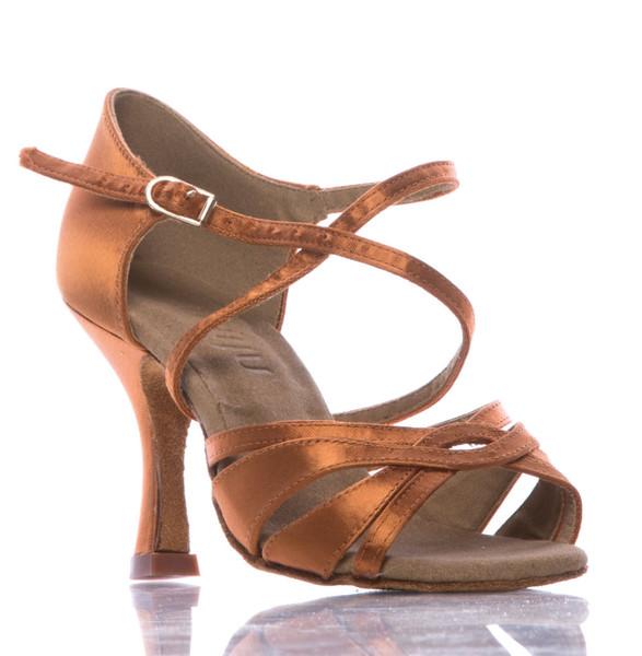 Loraina - Nude Strappy Dance Shoe - 3.5 inch Flared Heels
