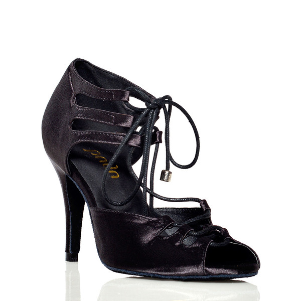 Alemana - Black Satin Open Toe Lace Up Stiletto Dance Shoe - 3.5 inch Heels