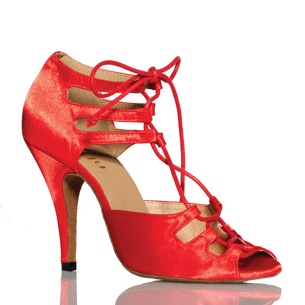 Alemana - Red Satin Open Toe Lace Up Stiletto Dance Shoe - 4 inch Heels