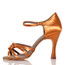 Leyla - Nude Strappy Knot Dance Shoe - 3.75 inch Flared Heels