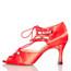 Alemana - Satin Open Toe Lace Up Dance Shoe - 3 inch Flared Heels