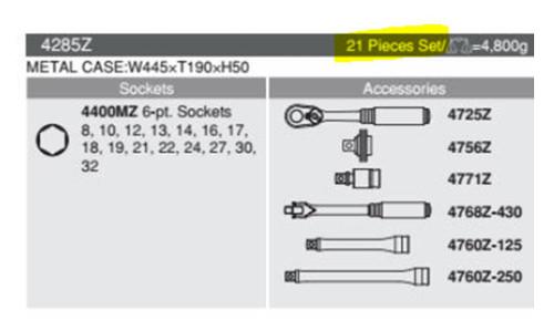 """科肯z系列4285Z /2""""方形驱动21pcs插座套装"""
