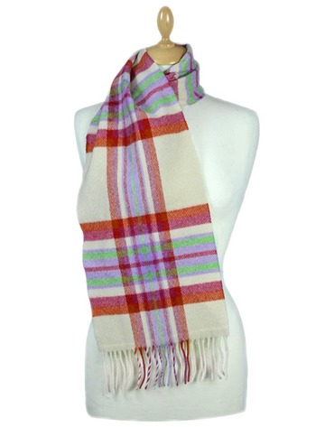 Narrow Lambswool 格子布Scarf - Berries and Cream