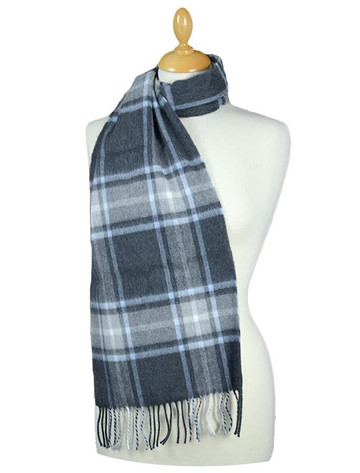 Fine Merino 格子布Scarf - Charcoal Light Blue Grey