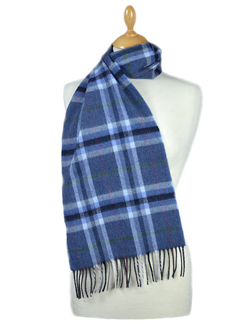 Fine Merino 格子布Scarf - Denim