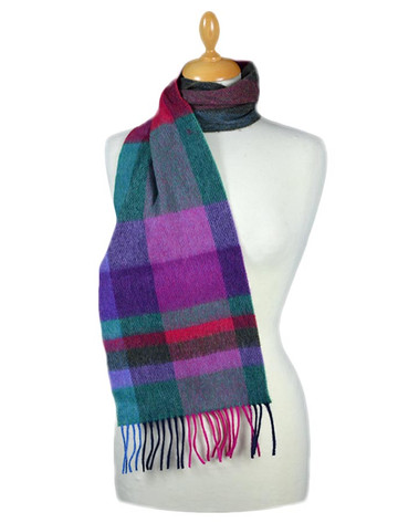 Narrow Lambswool 格子布Scarf - Green Fuschia