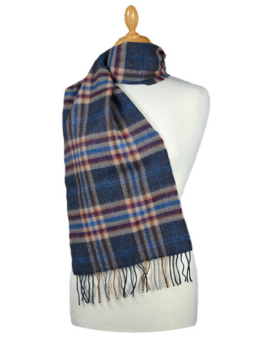Fine Merino 格子布Scarf - Grey Beige Cranberry