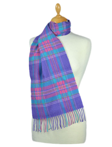 Fine Merino 格子布Scarf - Purple Blue Pink