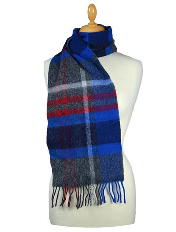 Narrow Lambswool 格子布Scarf - Grey Red Blue
