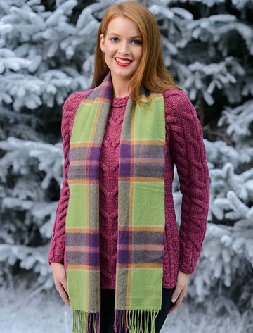 Fine Merino 格子布Scarf - Green Purple Plaid