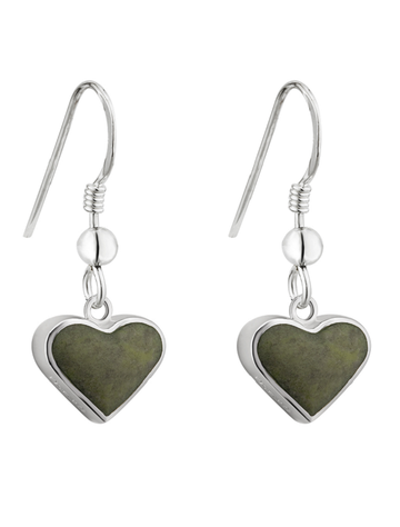 银色Connemara大理石Heart Earrings