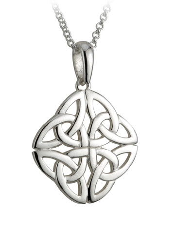 Sterling Silver Celtic Four三位一体的结吊坠