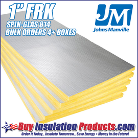 """Johns Manville Spin-Glas 814 FSK Fiberglass Acoustic Board in 1"""" thickness 2ft x 4ft panels."""