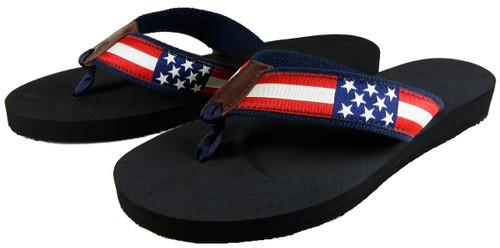 Retro US Flag Flip Flops