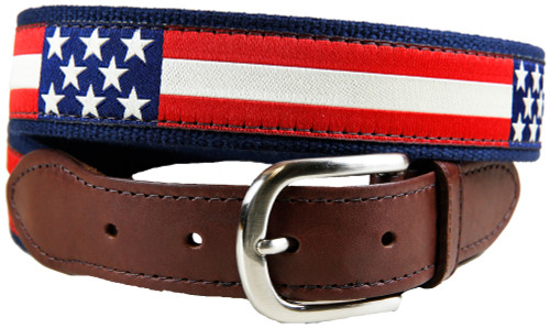 Retro Flag Leather Tab Belt