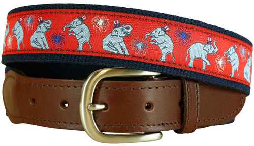 Republican Elephant Leather Tab Belt