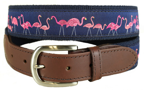 Yard Flamingos Leather Tab Belt