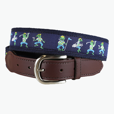 Ribbon Belt with Dancing Frogs playing golf