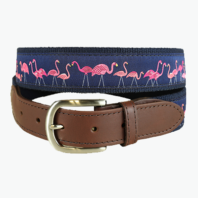 Ribbon Belt with Pink Flamingos