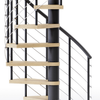 black steel spiral staircase kit with laminate wood treads and line rail
