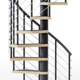 black steel spiral staircase with laminate wood treads and anti slip tape