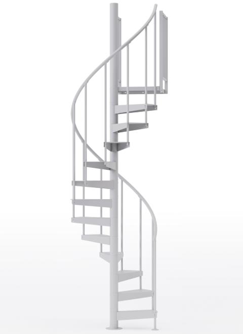 "adjustable height 42"" diameter spiral staircase white steel"