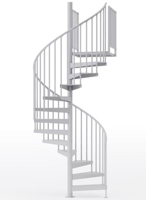 "adjustable height 60"" diameter spiral staircase white steel"