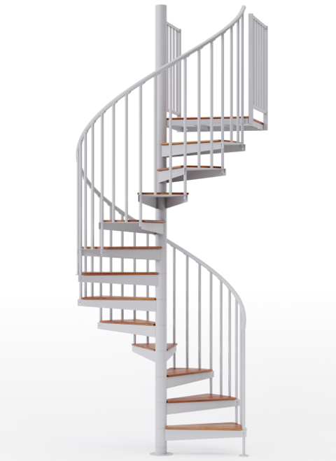 """adjustable height 60"""" diameter spiral staircase white steel with wood treads"""