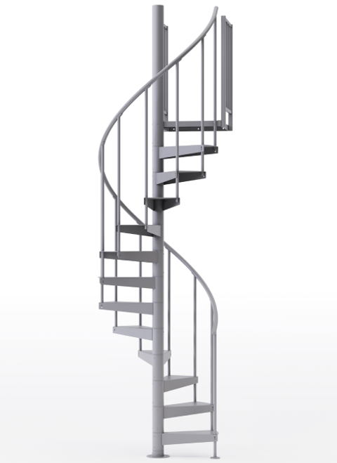 "adjustable height 42"" diameter spiral staircase grey steel"