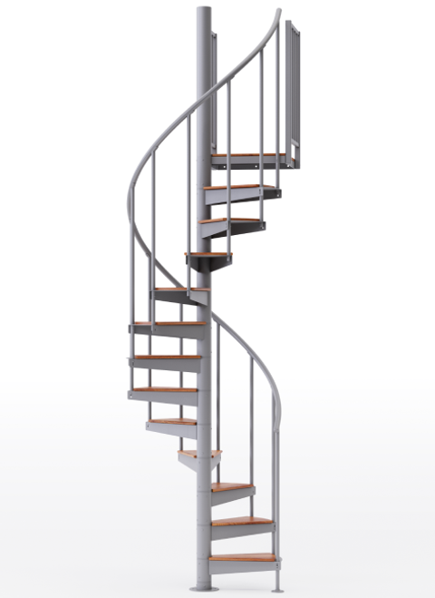"""adjustable height 42"""" diameter spiral staircase gray steel with wood treads"""