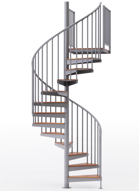 """adjustable height 60"""" diameter spiral staircase gray steel with wood treads"""