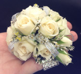 Abby Corsage ivory spray roses with diamante wrist band