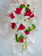 Medium Oriental Lily, Rose and Orchid Teardrop Wedding Bouquet
