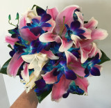 Blue orchid and pink lily posy - medium